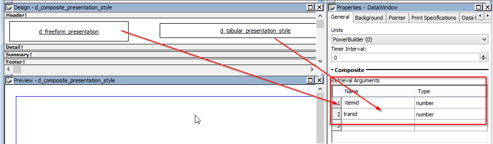 Pass Multiple Retrieval Arguments to Multiple dataobjects in CompositeDataWindow in PowerBuilder - Image 3