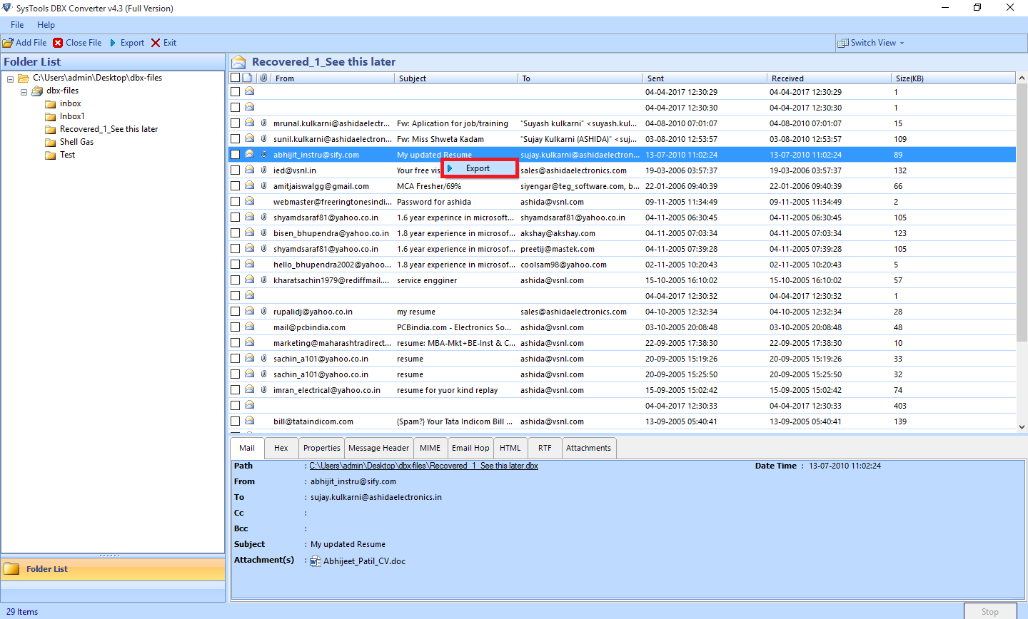 DBX to PST Converter to Access Outlook Express Files into Outlook - Image 7
