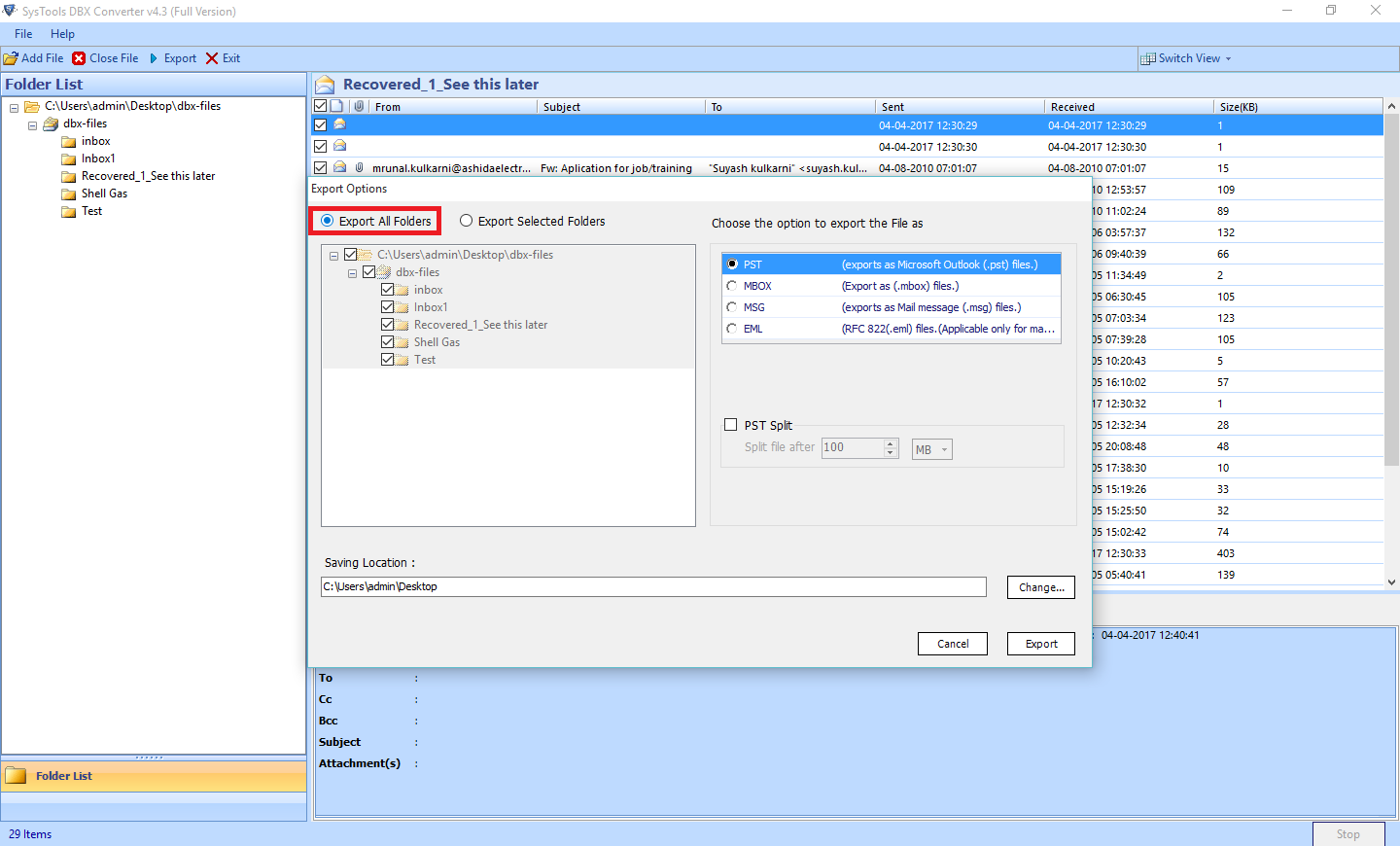 DBX to PST Converter to Access Outlook Express Files into Outlook - Image 9