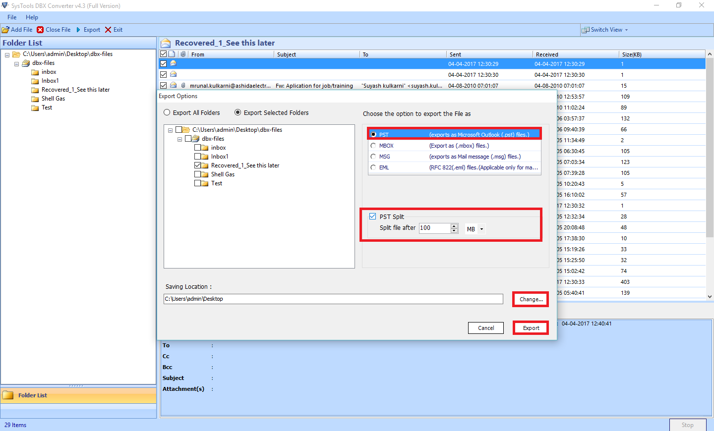 DBX to PST Converter to Access Outlook Express Files into Outlook - Image 10