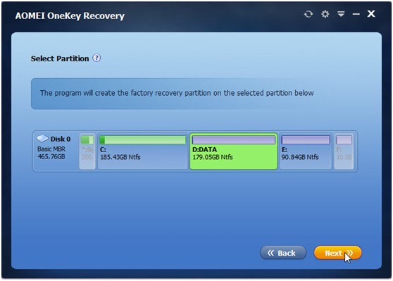 AOMEI OneKey Recovery - Create Recovery Partition and One Key Backup System for Windows PC - Image 3