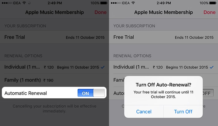 how to cancel apple music subscription trial